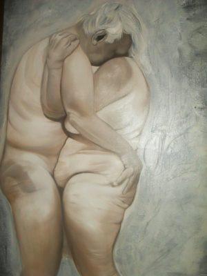 """olio su tela 60x90 tecnica grisaille """"Amore e psiche"""" Opera di  Elena Diciolla"""