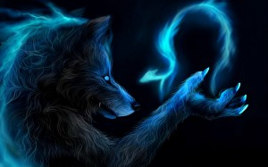 Awesome-Fantasy-Blue-Wolf-Wallpaper